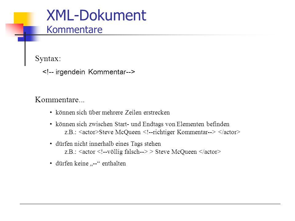 XML-Dokument Kommentare