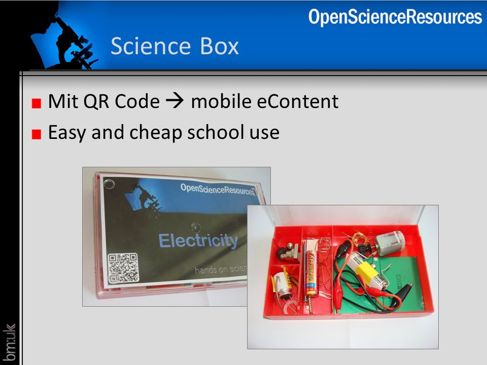Science Box Mit QR Code  mobile eContent Easy and cheap school use