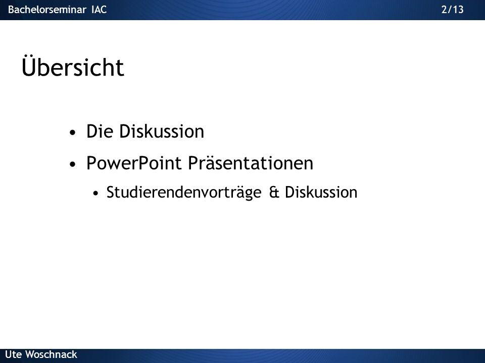 Übersicht Die Diskussion PowerPoint Präsentationen