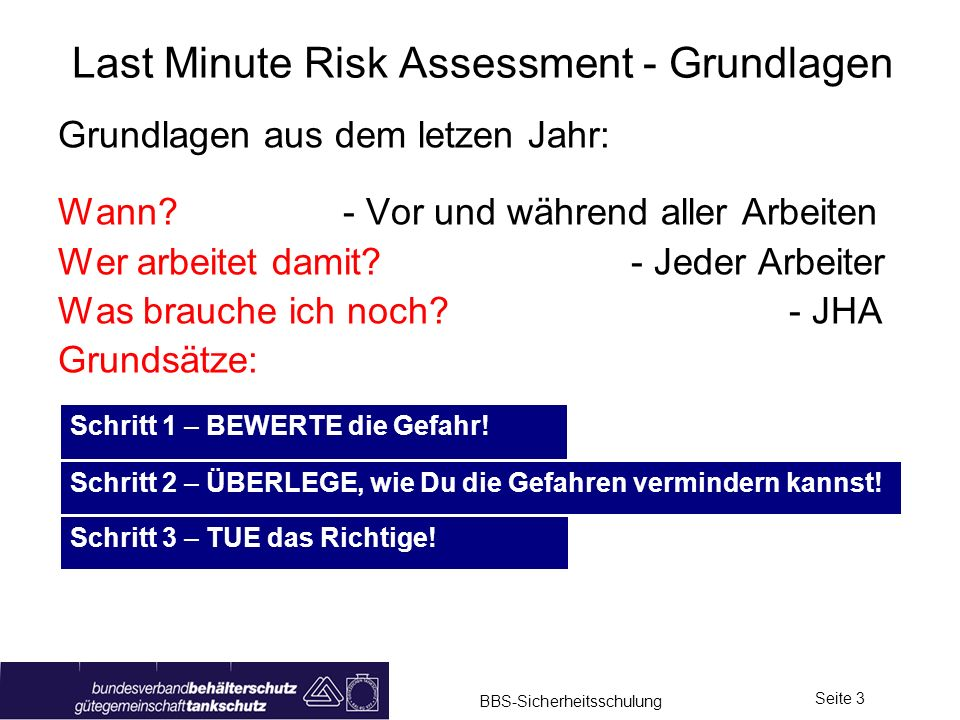 Last Minute Risk Assessment - Grundlagen