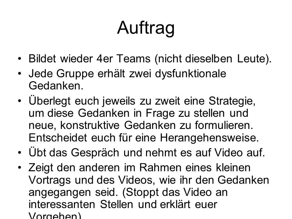 Auftrag Bildet wieder 4er Teams (nicht dieselben Leute).