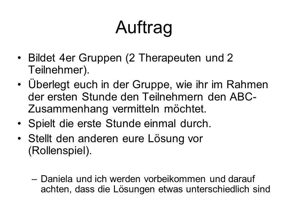 Auftrag Bildet 4er Gruppen (2 Therapeuten und 2 Teilnehmer).