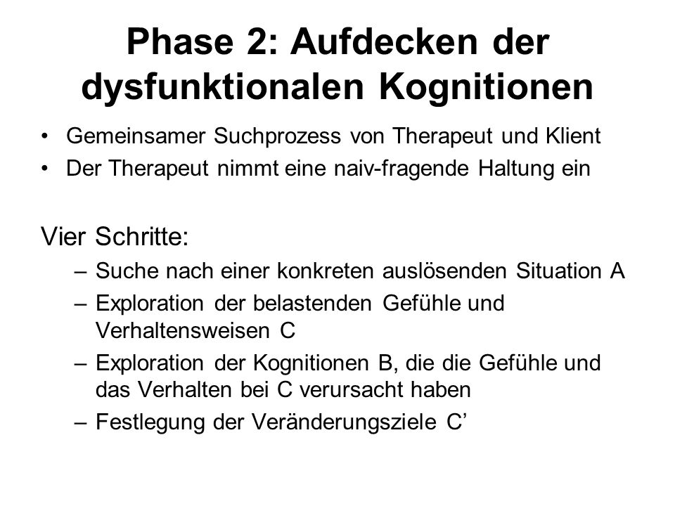 Phase 2: Aufdecken der dysfunktionalen Kognitionen