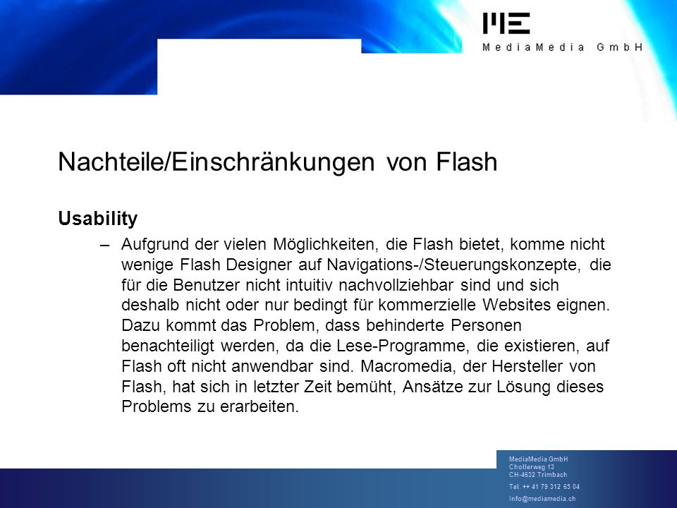 Nachteile/Einschränkungen von Flash