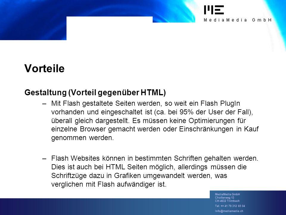 Vorteile Gestaltung (Vorteil gegenüber HTML)