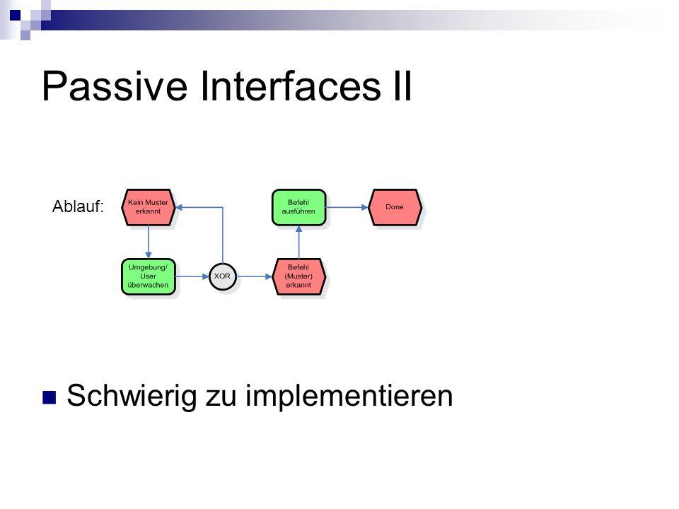 Passive Interfaces II Ablauf: Schwierig zu implementieren