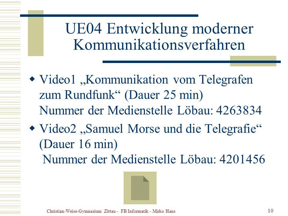 UE04 Entwicklung moderner Kommunikationsverfahren