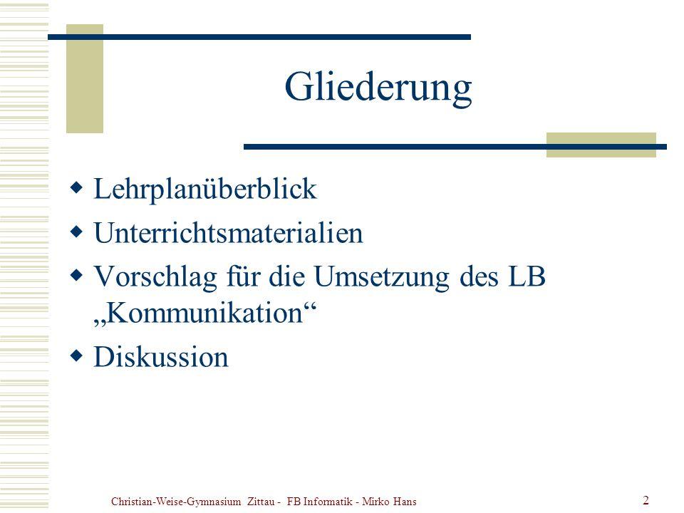 Christian-Weise-Gymnasium Zittau - FB Informatik - Mirko Hans