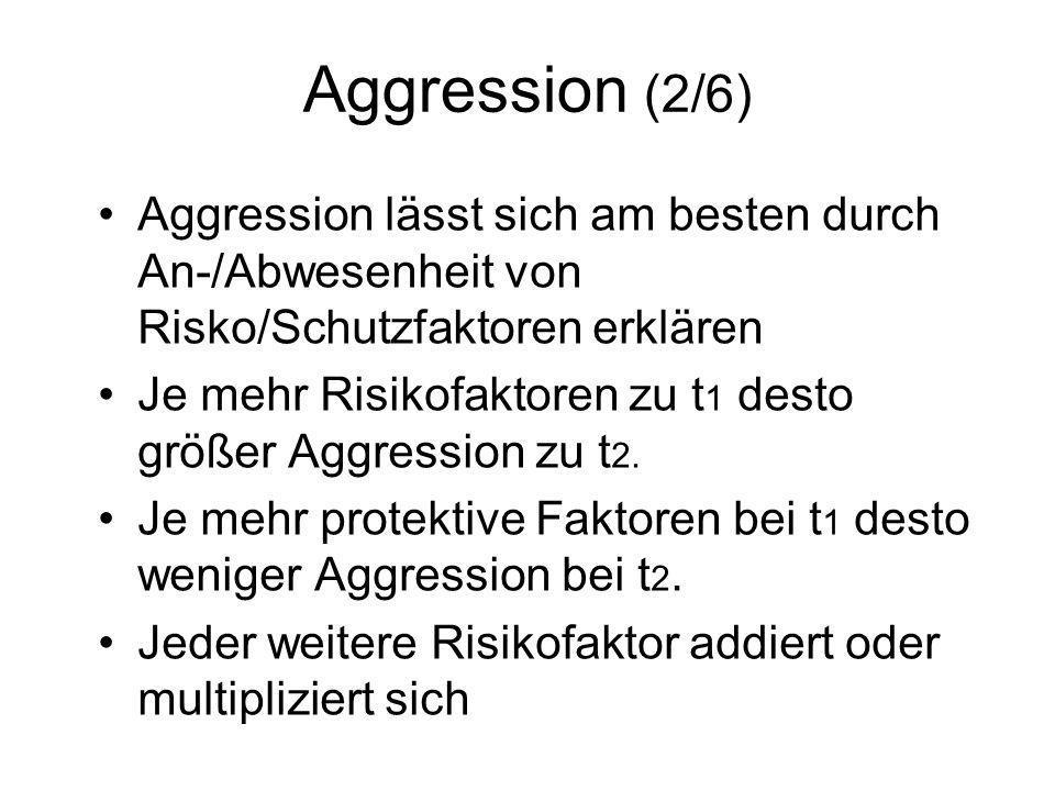 Aggression (2/6) Aggression lässt sich am besten durch An-/Abwesenheit von Risko/Schutzfaktoren erklären.