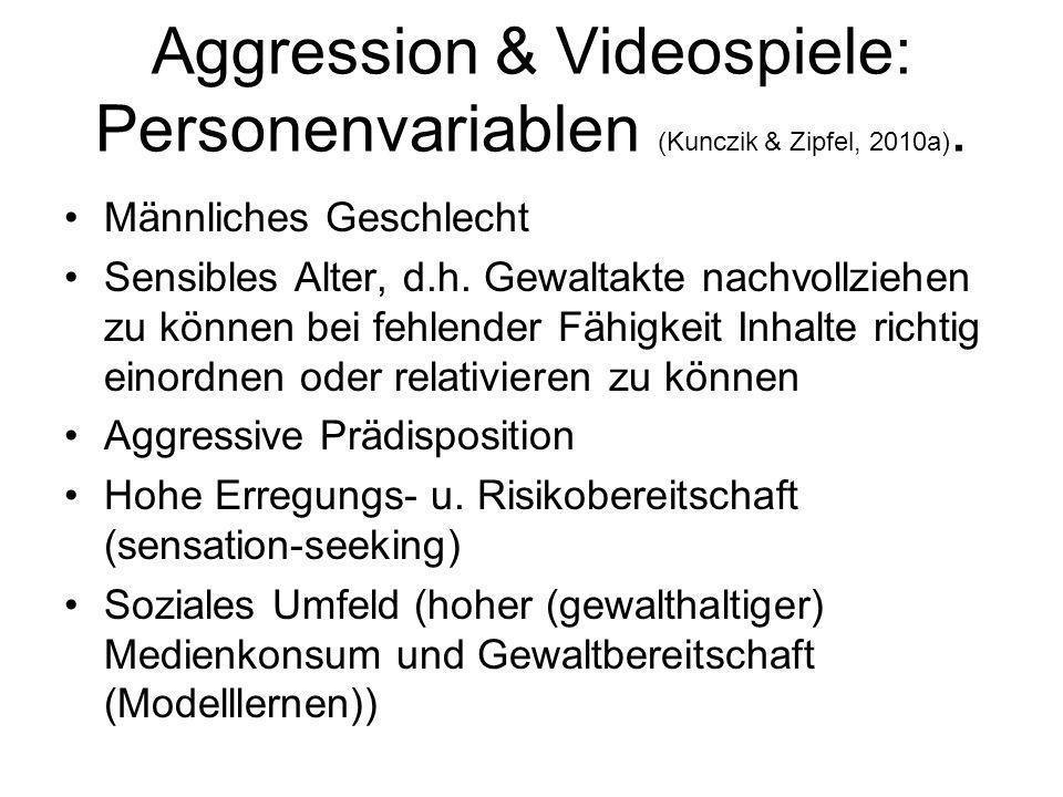 Aggression & Videospiele: Personenvariablen (Kunczik & Zipfel, 2010a).