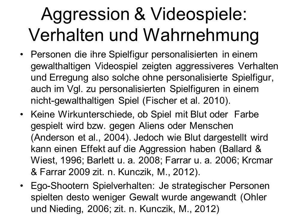 Aggression & Videospiele: Verhalten und Wahrnehmung