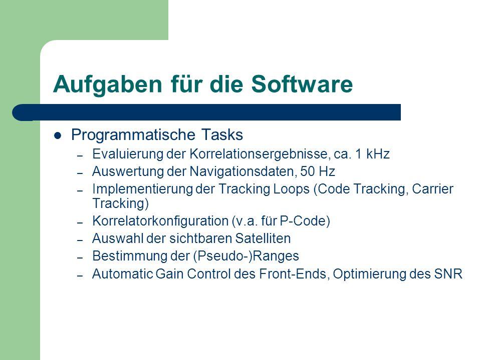 Aufgaben für die Software