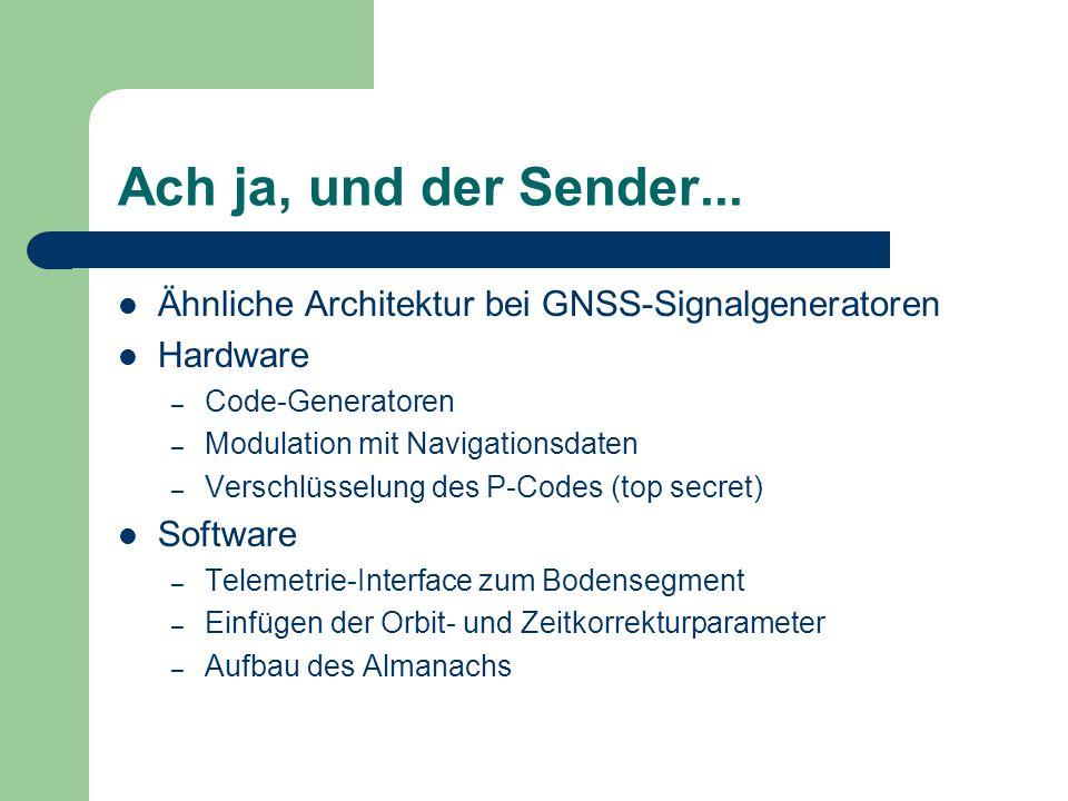 Ach ja, und der Sender... Ähnliche Architektur bei GNSS-Signalgeneratoren. Hardware. Code-Generatoren.