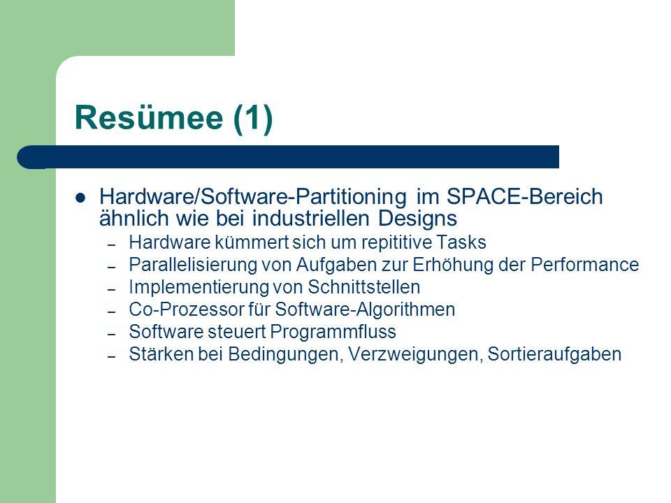 Resümee (1) Hardware/Software-Partitioning im SPACE-Bereich ähnlich wie bei industriellen Designs. Hardware kümmert sich um repititive Tasks.