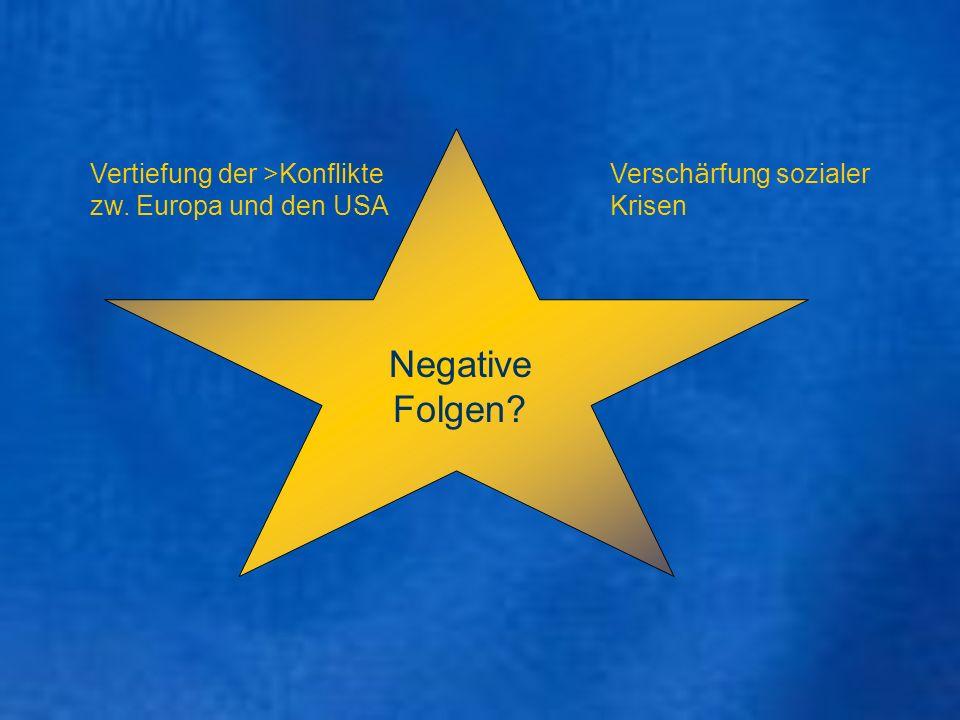 Negative Folgen Vertiefung der >Konflikte zw. Europa und den USA
