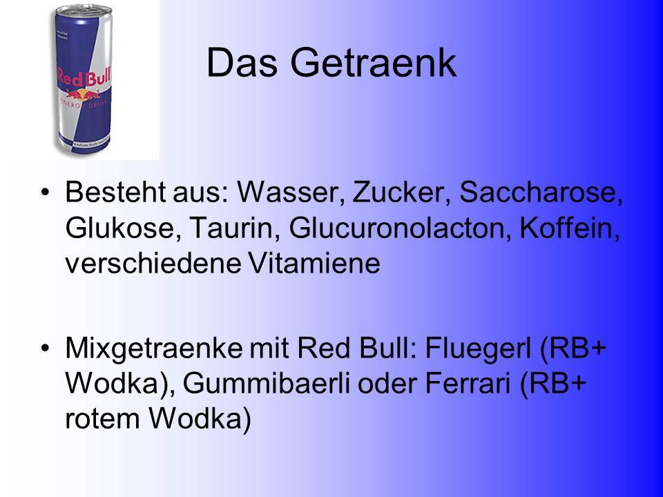 Das GetraenkBesteht aus: Wasser, Zucker, Saccharose, Glukose, Taurin, Glucuronolacton, Koffein, verschiedene Vitamiene.