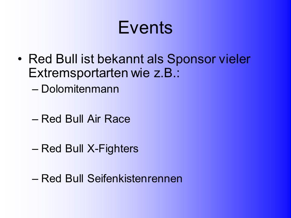 Events Red Bull ist bekannt als Sponsor vieler Extremsportarten wie z.B.: Dolomitenmann. Red Bull Air Race.