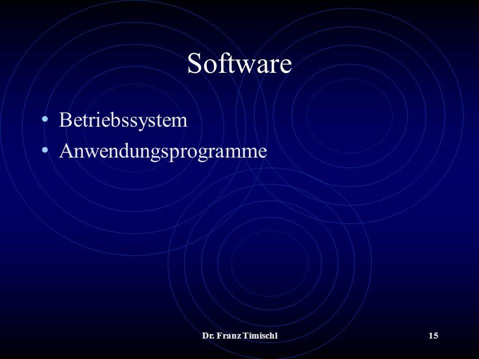 Software Betriebssystem Anwendungsprogramme Dr. Franz Timischl