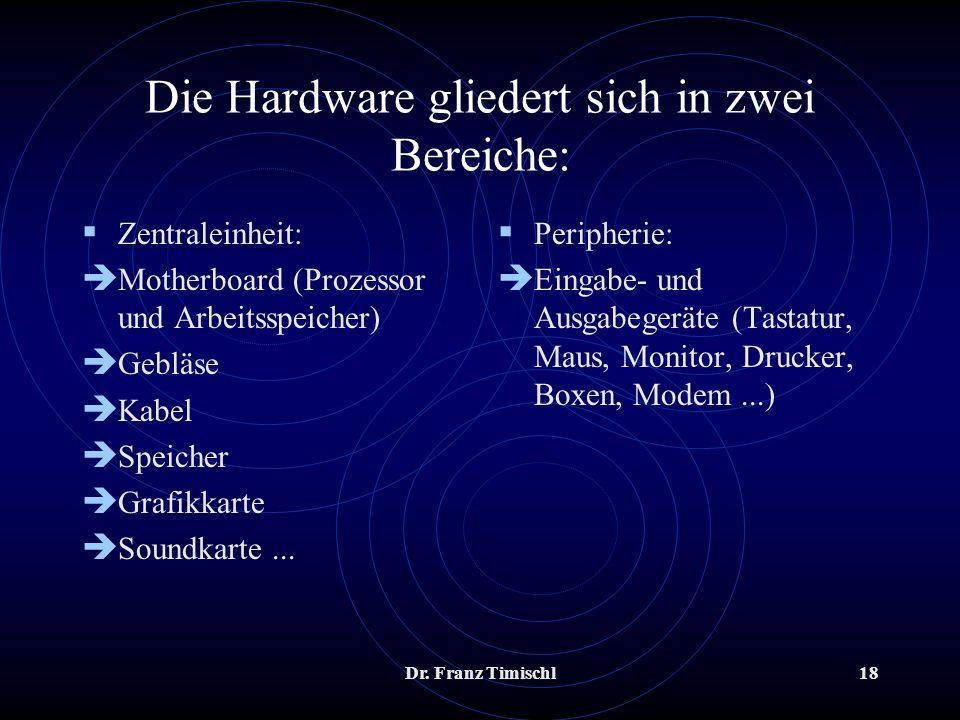 Die Hardware gliedert sich in zwei Bereiche: