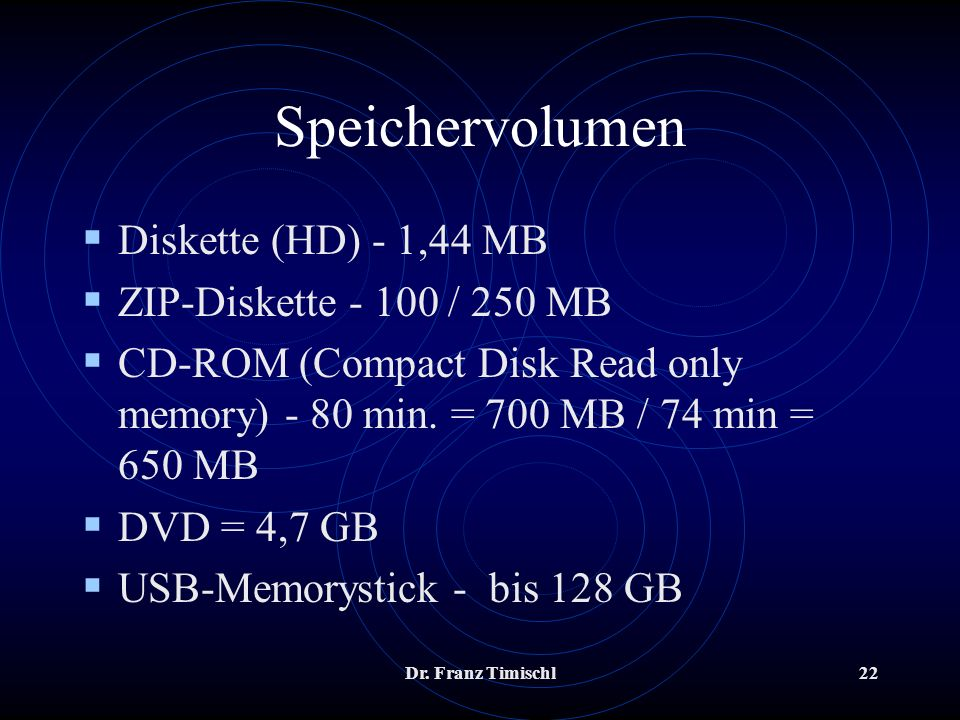 Speichervolumen Diskette (HD) - 1,44 MB ZIP-Diskette / 250 MB