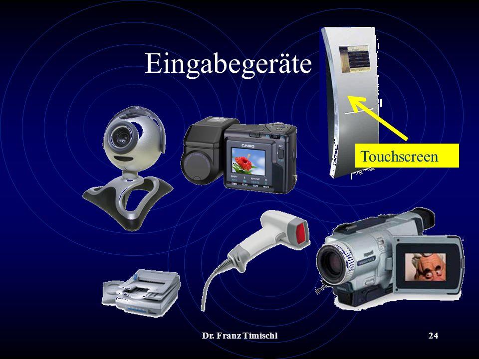 Eingabegeräte 2 Touchscreen Dr. Franz Timischl