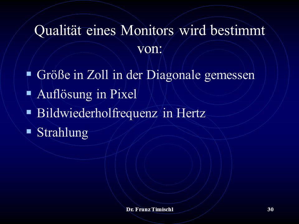 Qualität eines Monitors wird bestimmt von: