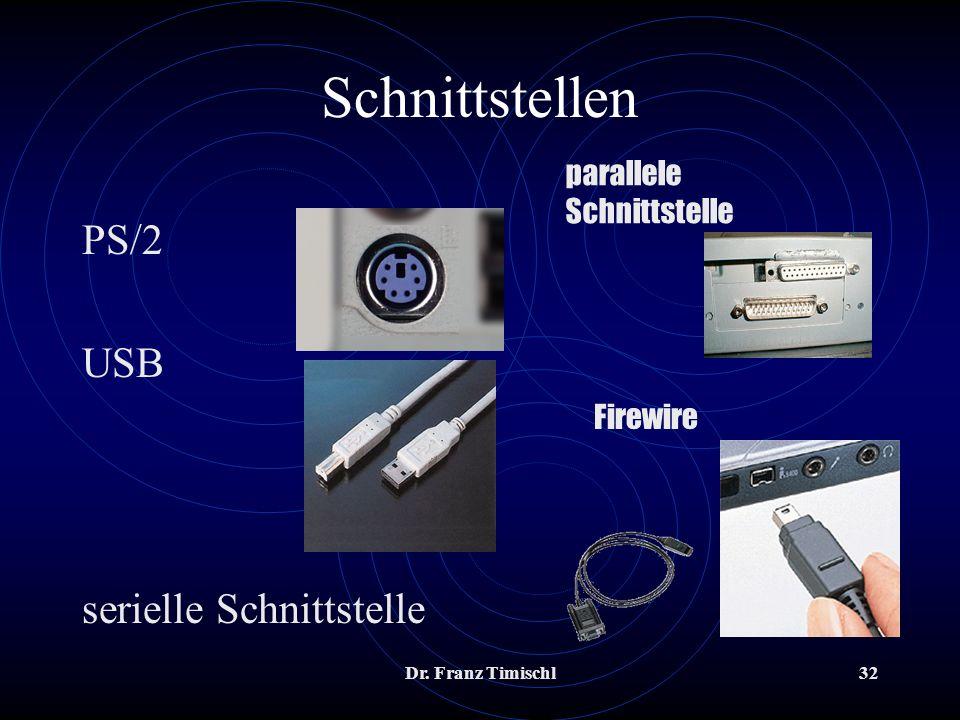 Schnittstellen PS/2 USB serielle Schnittstelle parallele Schnittstelle