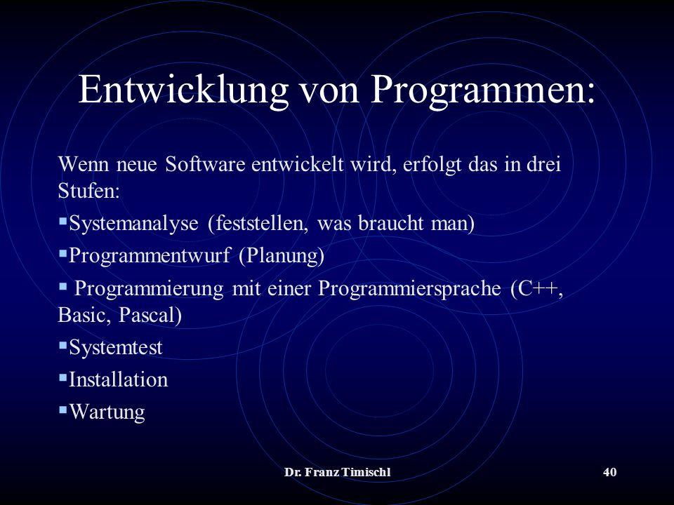 Entwicklung von Programmen:
