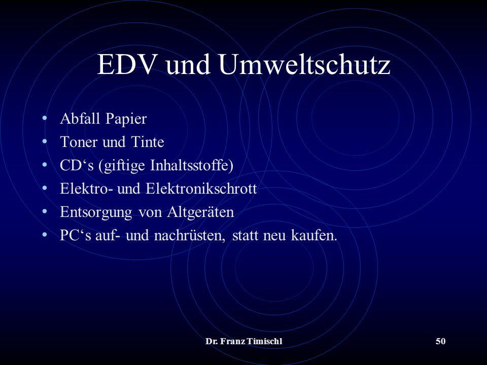 EDV und Umweltschutz Abfall Papier Toner und Tinte