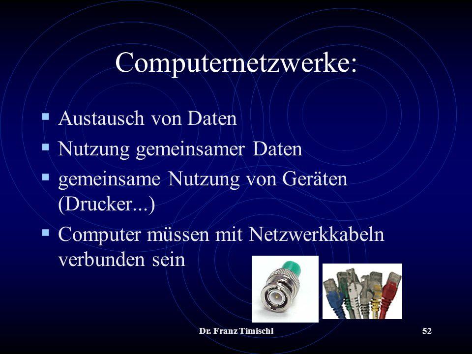 Computernetzwerke: Austausch von Daten Nutzung gemeinsamer Daten