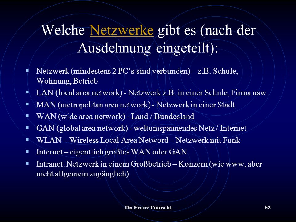 Welche Netzwerke gibt es (nach der Ausdehnung eingeteilt):