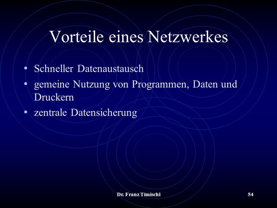 Vorteile eines Netzwerkes