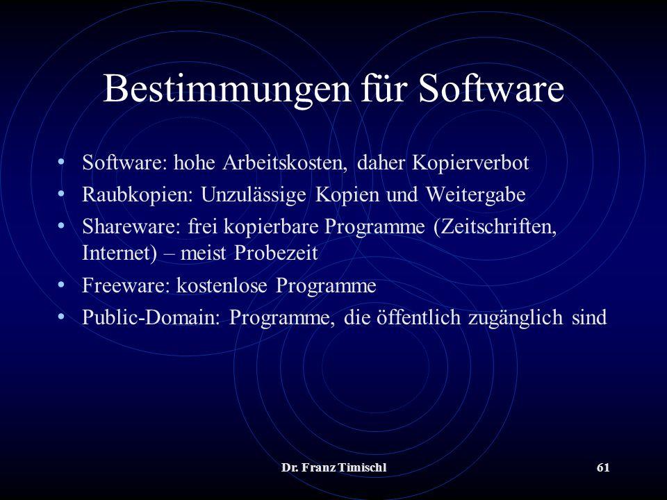 Bestimmungen für Software