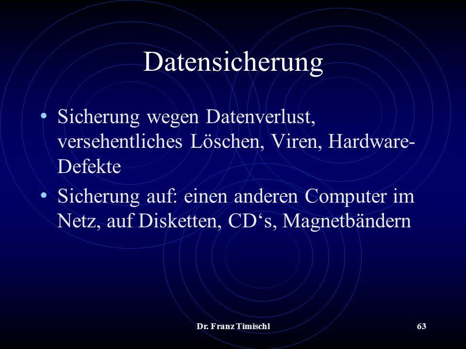 Datensicherung Sicherung wegen Datenverlust, versehentliches Löschen, Viren, Hardware-Defekte.