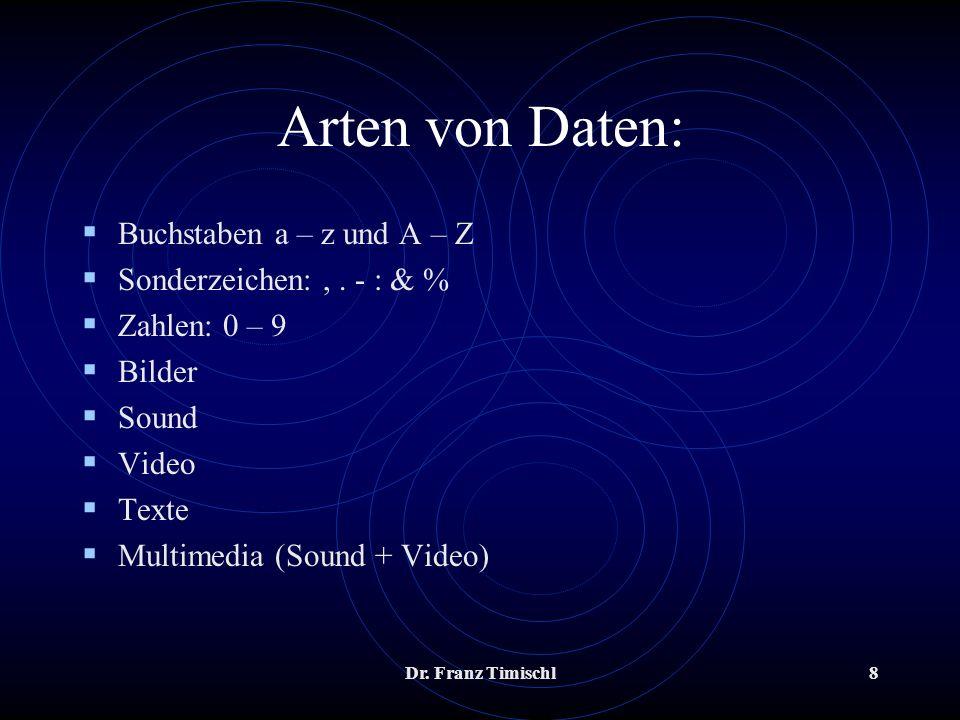 Arten von Daten: Buchstaben a – z und A – Z Sonderzeichen: , . - : & %
