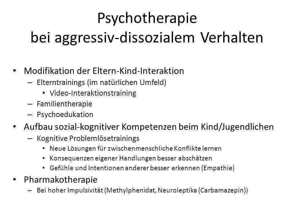 Psychotherapie bei aggressiv-dissozialem Verhalten