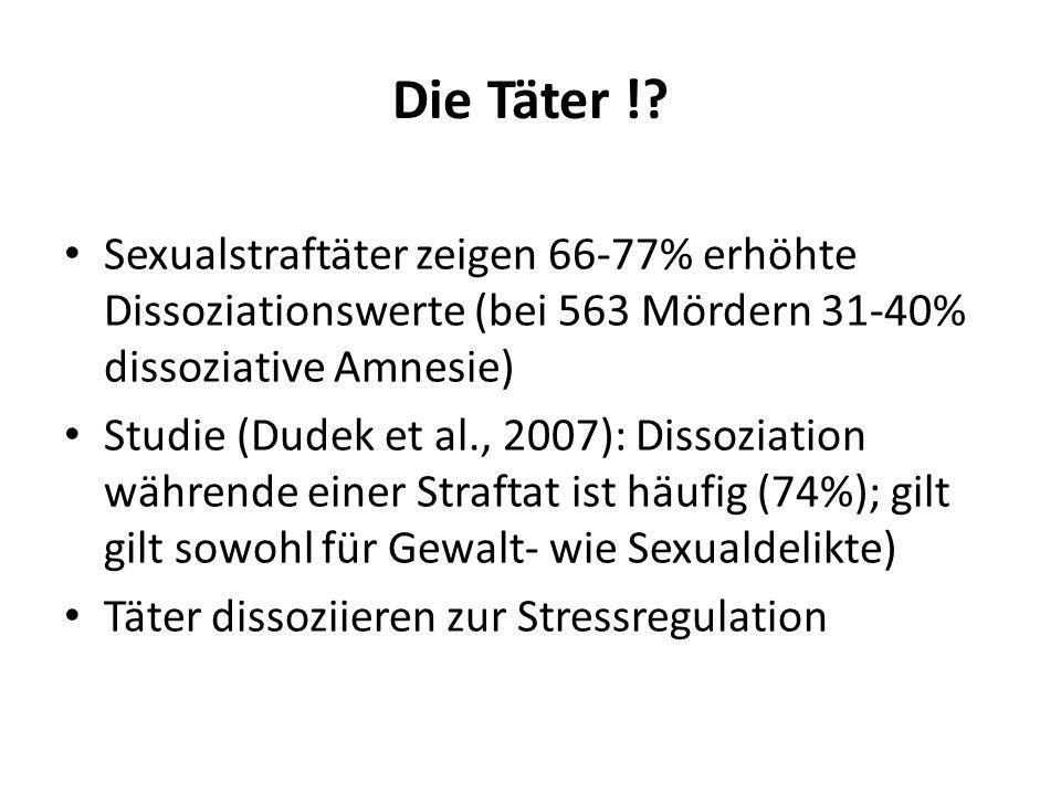 Die Täter ! Sexualstraftäter zeigen 66-77% erhöhte Dissoziationswerte (bei 563 Mördern 31-40% dissoziative Amnesie)