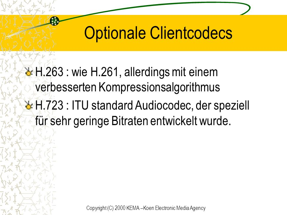 Optionale Clientcodecs