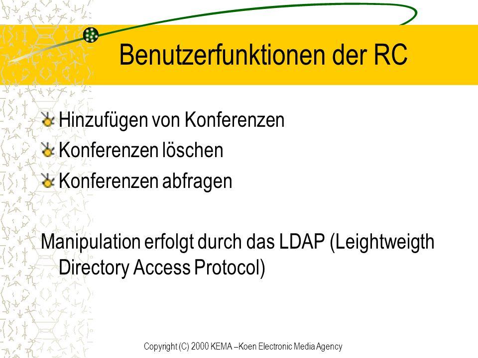 Benutzerfunktionen der RC
