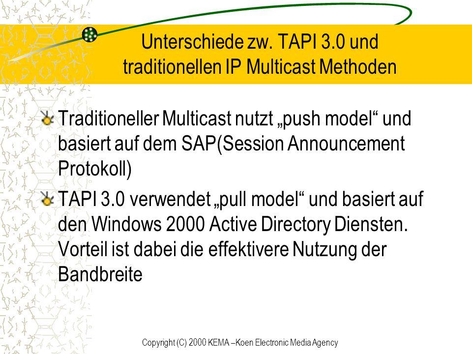 Unterschiede zw. TAPI 3.0 und traditionellen IP Multicast Methoden