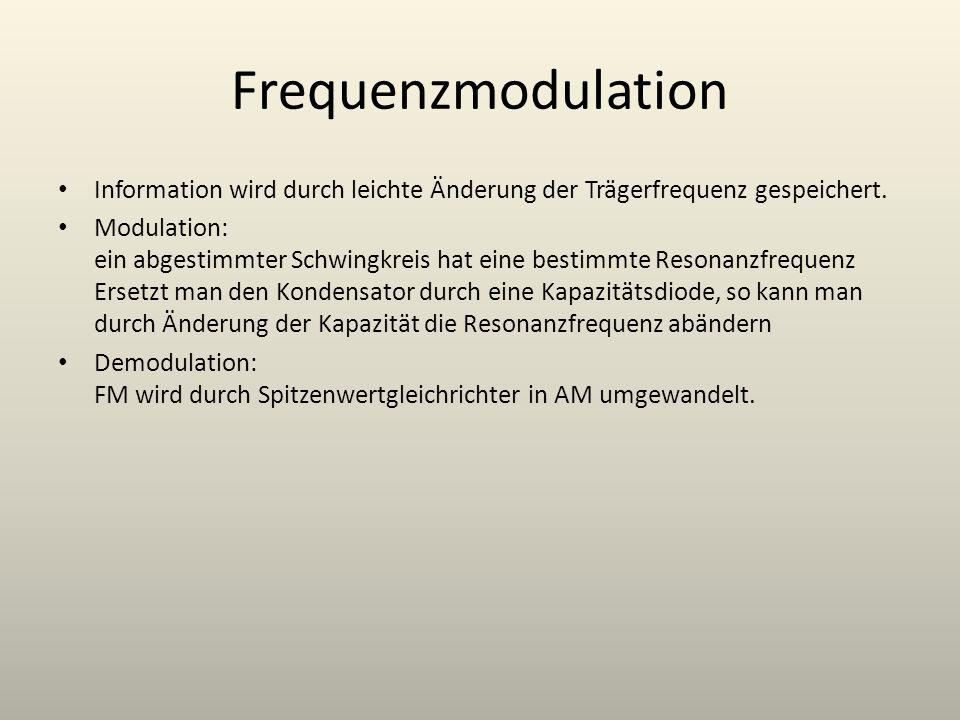 Frequenzmodulation Information wird durch leichte Änderung der Trägerfrequenz gespeichert.