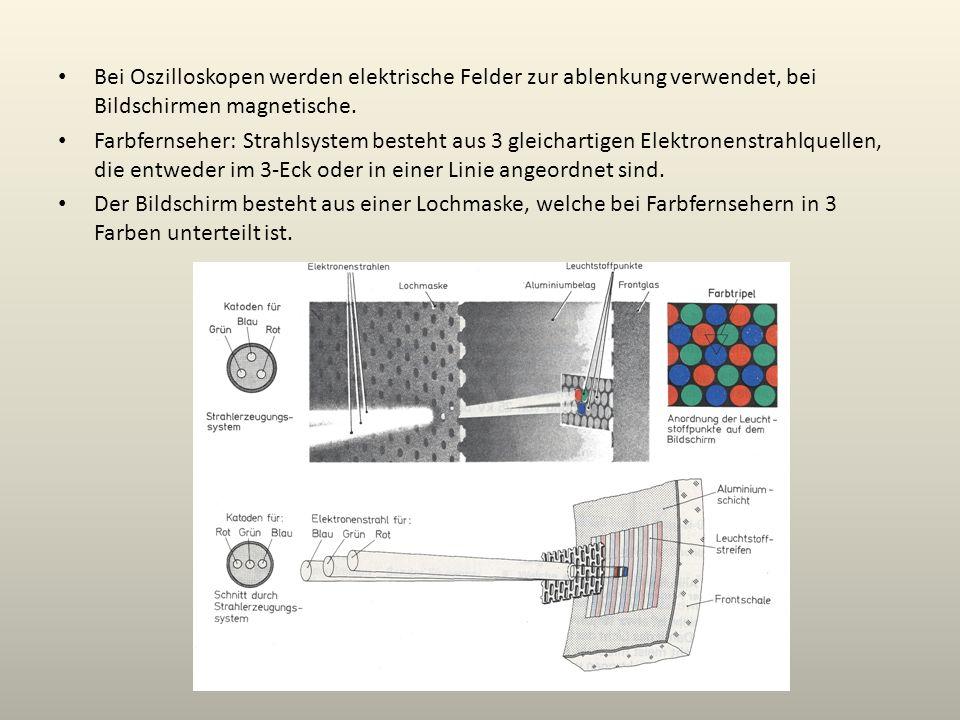 Bei Oszilloskopen werden elektrische Felder zur ablenkung verwendet, bei Bildschirmen magnetische.