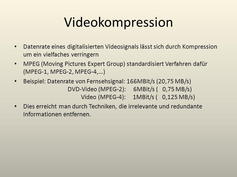 Videokompression Datenrate eines digitalisierten Videosignals lässt sich durch Kompression um ein vielfaches verringern.