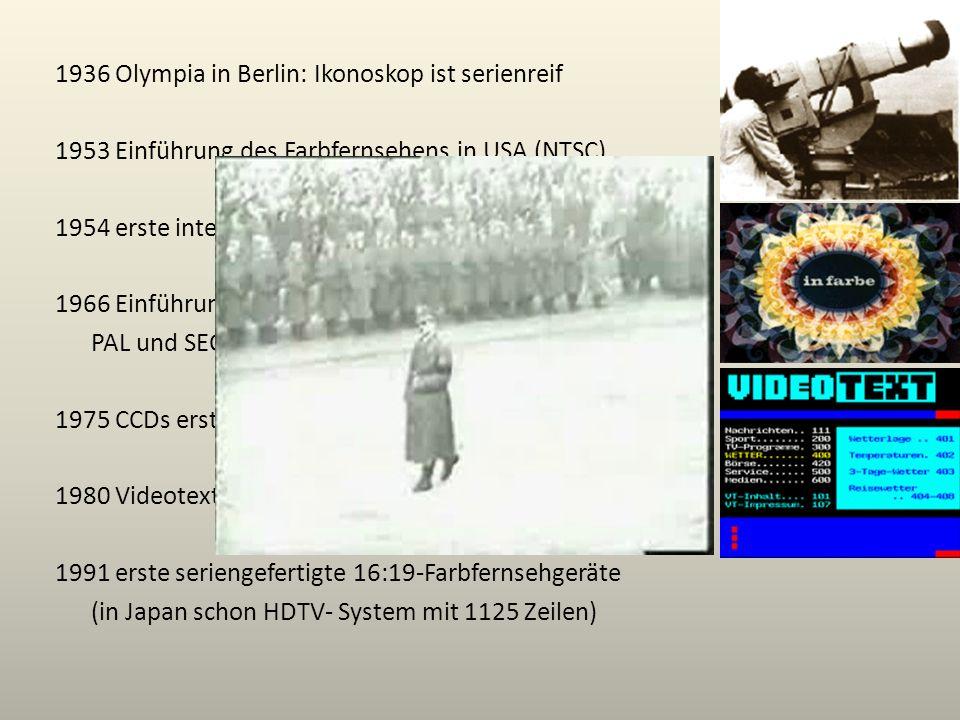 1936 Olympia in Berlin: Ikonoskop ist serienreif 1953 Einführung des Farbfernsehens in USA (NTSC) 1954 erste internationale Fernseh-Direktübertragung 1966 Einführung der Farbfernseh-Normen: PAL und SECAM 1975 CCDs erstmals in Fernsehkameras nutzbar 1980 Videotext-Großversuch, 1990 Regelbetrieb 1991 erste seriengefertigte 16:19-Farbfernsehgeräte (in Japan schon HDTV- System mit 1125 Zeilen)
