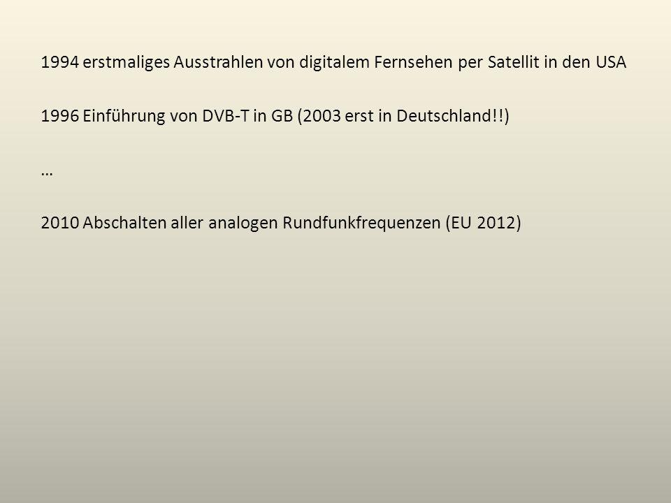 1994 erstmaliges Ausstrahlen von digitalem Fernsehen per Satellit in den USA 1996 Einführung von DVB-T in GB (2003 erst in Deutschland!!) … 2010 Abschalten aller analogen Rundfunkfrequenzen (EU 2012)