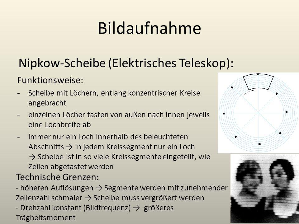 Bildaufnahme Nipkow-Scheibe (Elektrisches Teleskop): Funktionsweise: