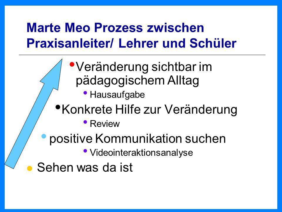 Marte Meo Prozess zwischen Praxisanleiter/ Lehrer und Schüler