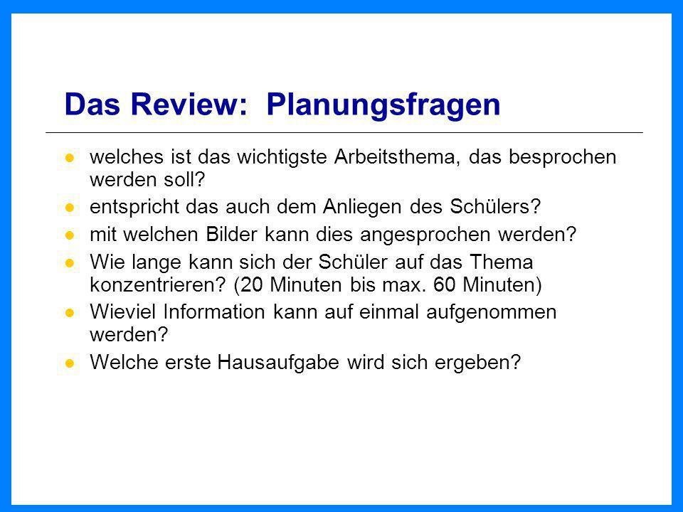 Das Review: Planungsfragen