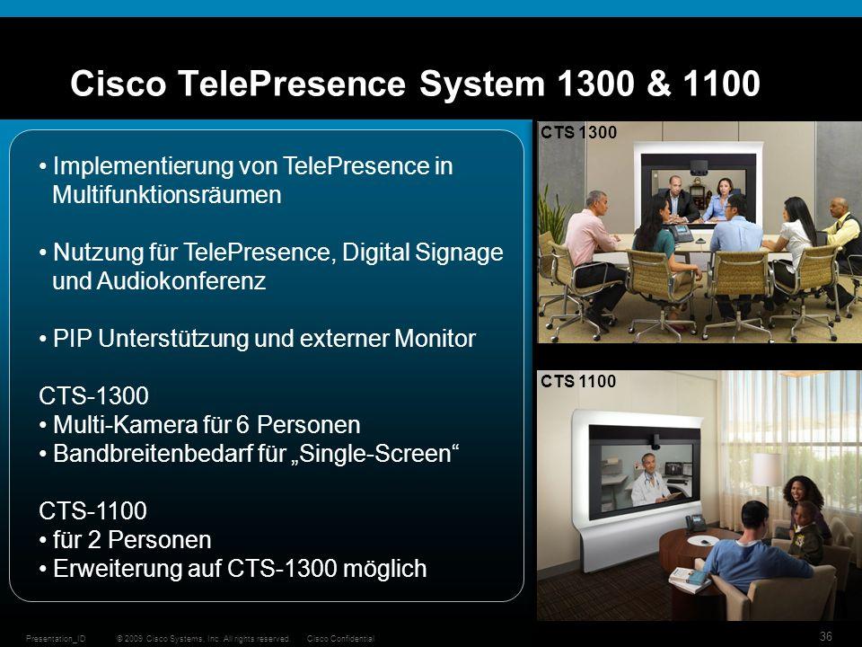 Cisco TelePresence System 1300 & 1100