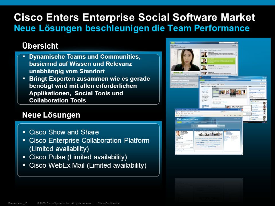 Cisco Enters Enterprise Social Software Market Neue Lösungen beschleunigen die Team Performance